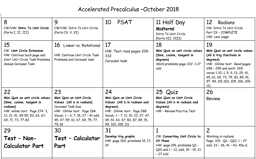 Beginning Trig 2018 - Accelerated Pre-Calculus